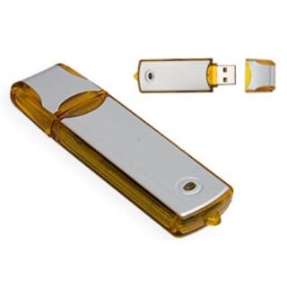 PJL-3350 Clé USB - plastique translucide et fini argent brossé